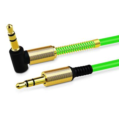 3.5mm AUX Cable Car Stereo Audio Auxiliary Headphone Jack Cord Right Angle Male to Male, 3ft (Green)
