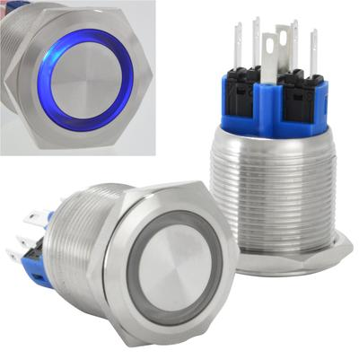 22mm 12V LED Latching Push Button Stainless Steel Power Switch, Blue
